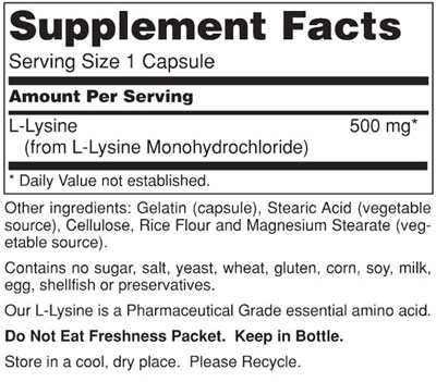 L-Lysine 500mg Supplement Facts